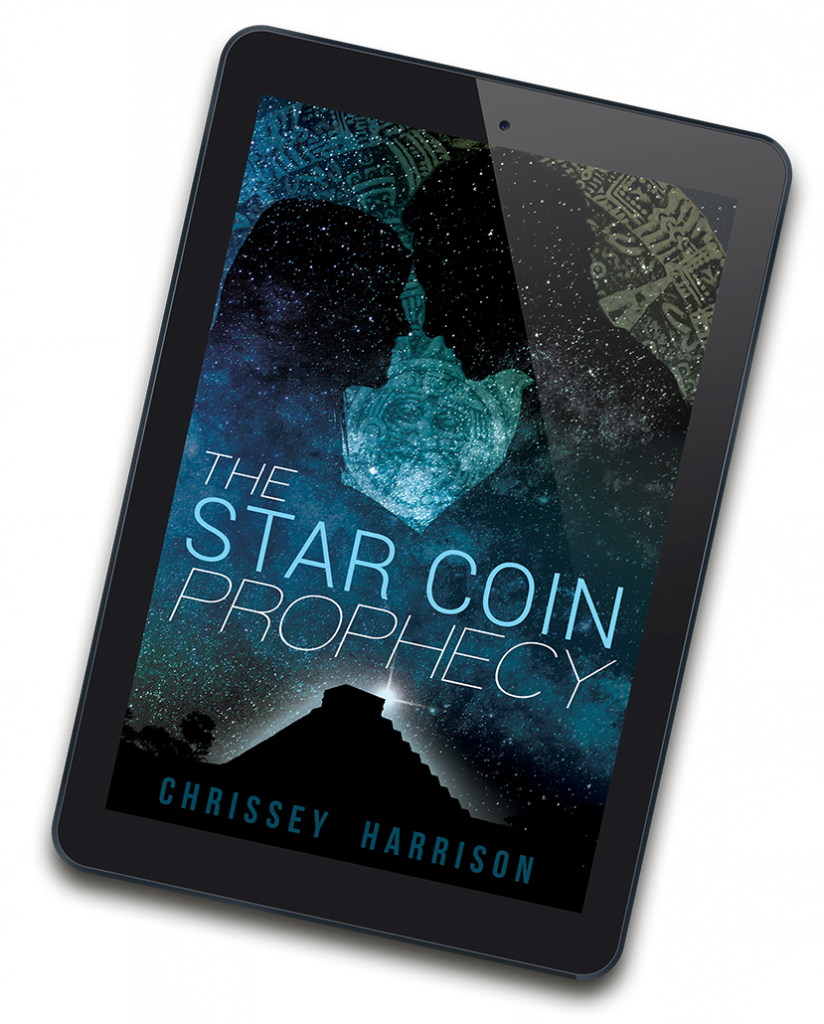 The Star Coin Prophecy cover displayed on a tablet. The cover features sillhouettes of a male and female figure against a starfield background. Below, a bright light shines from behind a Mayan stepped pyramid.