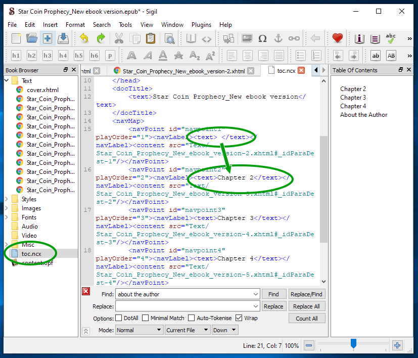Screen shot of sigil showing the location of the toc.ncx file and highlighting where to make the change to the code.