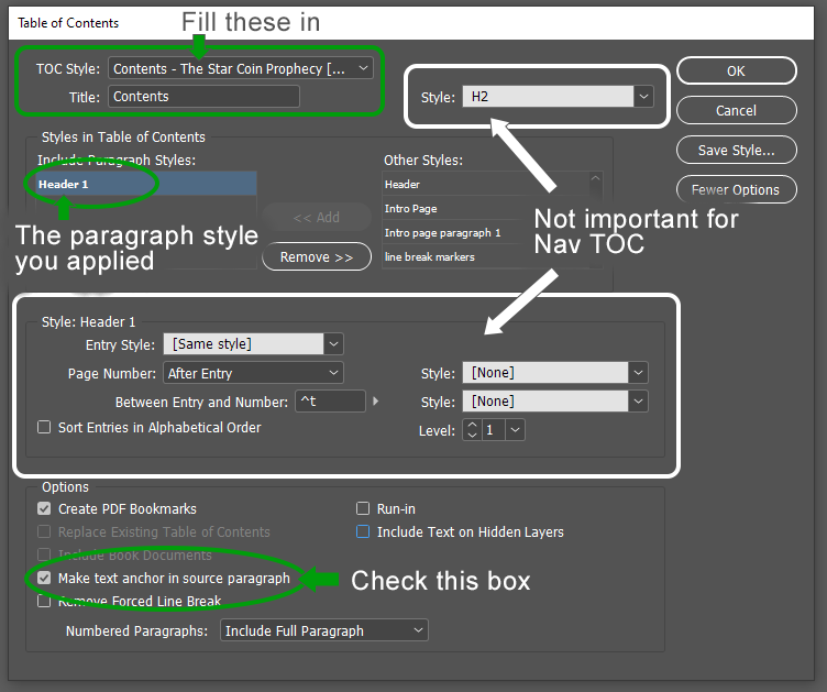 Screen shot of InDesign Table of Contents window highlighting the important fields discussed in the text of the blog.