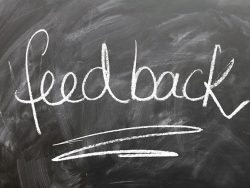 """Feedback"" written on a blackboard in white chalk"